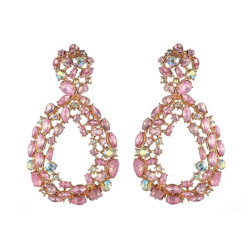 Pink rhinestone water drop earrings