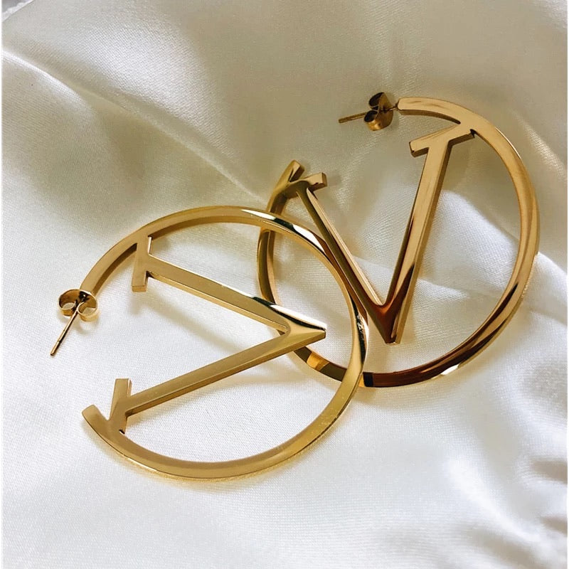 V inspired gold hoop earrings