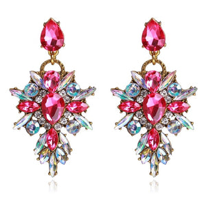 AB Pink Rhinestone drop earrings