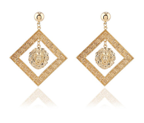 Gold square lion head earrings