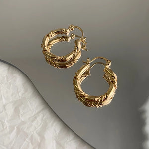 Gold french twist mini hoops