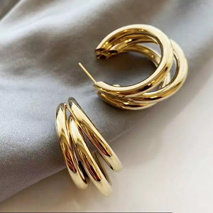 Gold statement vintage hoops