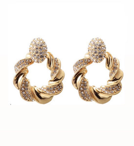 Gold rhinestone twist luxe earrings