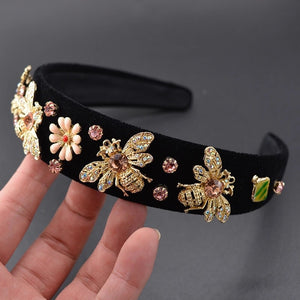 Black velvet bee rhinestone headband