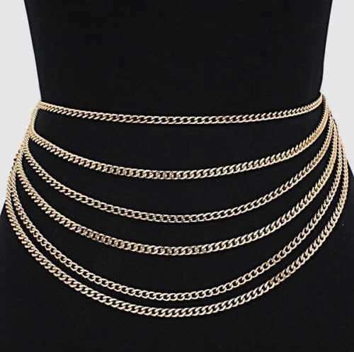 Gold statement layer waist chain