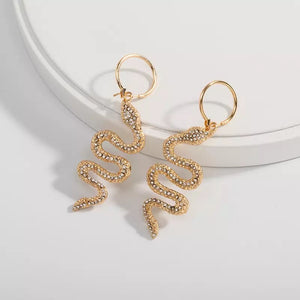 Snake rhinestone minimalist hoop earrings