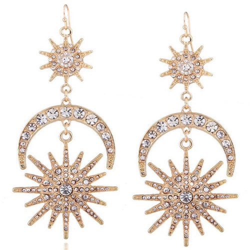 Sun & moon rhinestone drop earrings