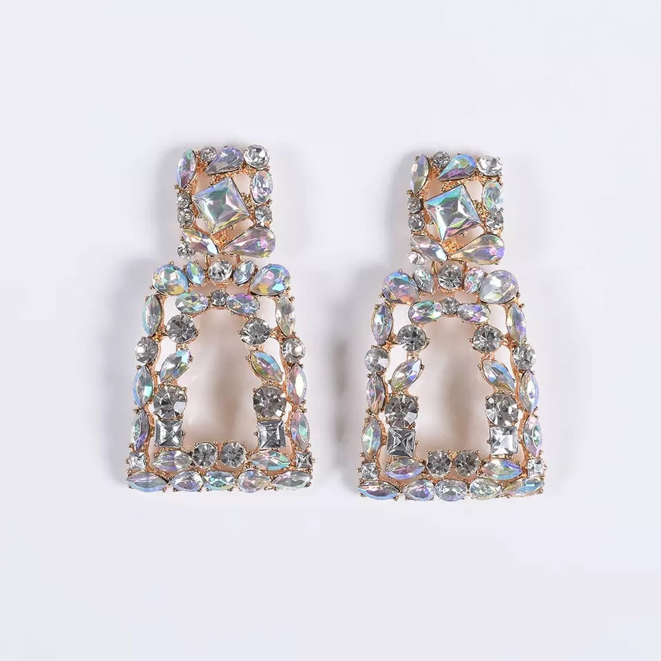 AB rhinestone luxe earrings