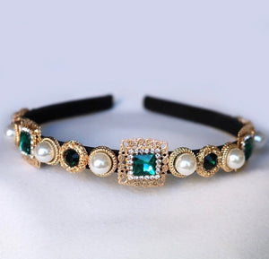 Emerald gem statement headband