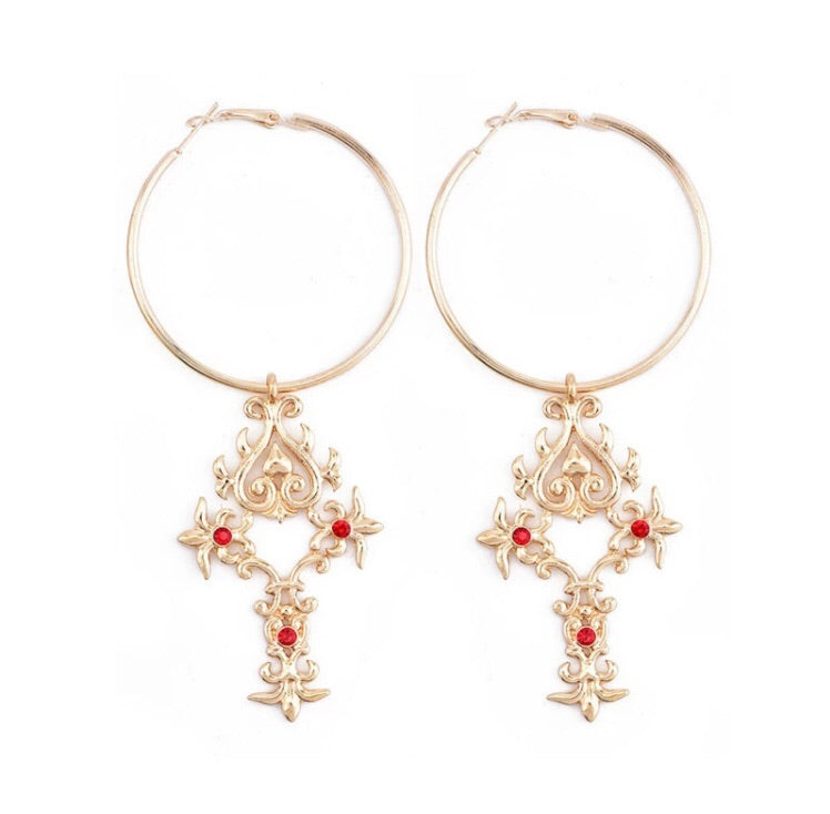 Baroque cross hoop earrings