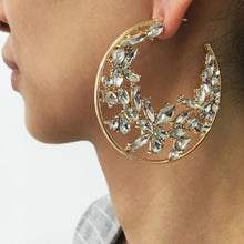 Diamond rhinestone cluster statement hoops