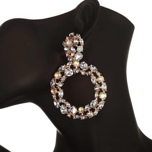 AB Rhinestone circle earrings