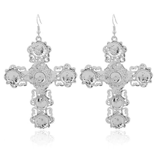 Silver baroque cross drop earrings