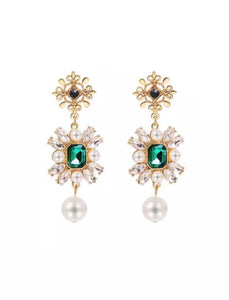 Emerald & pearl rhinestone pendant earrings