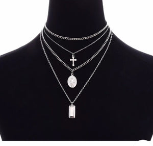 Silver cross 4pc layer necklace