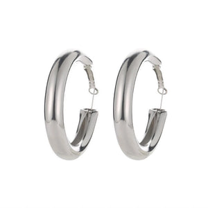 Silver statement thick hoops