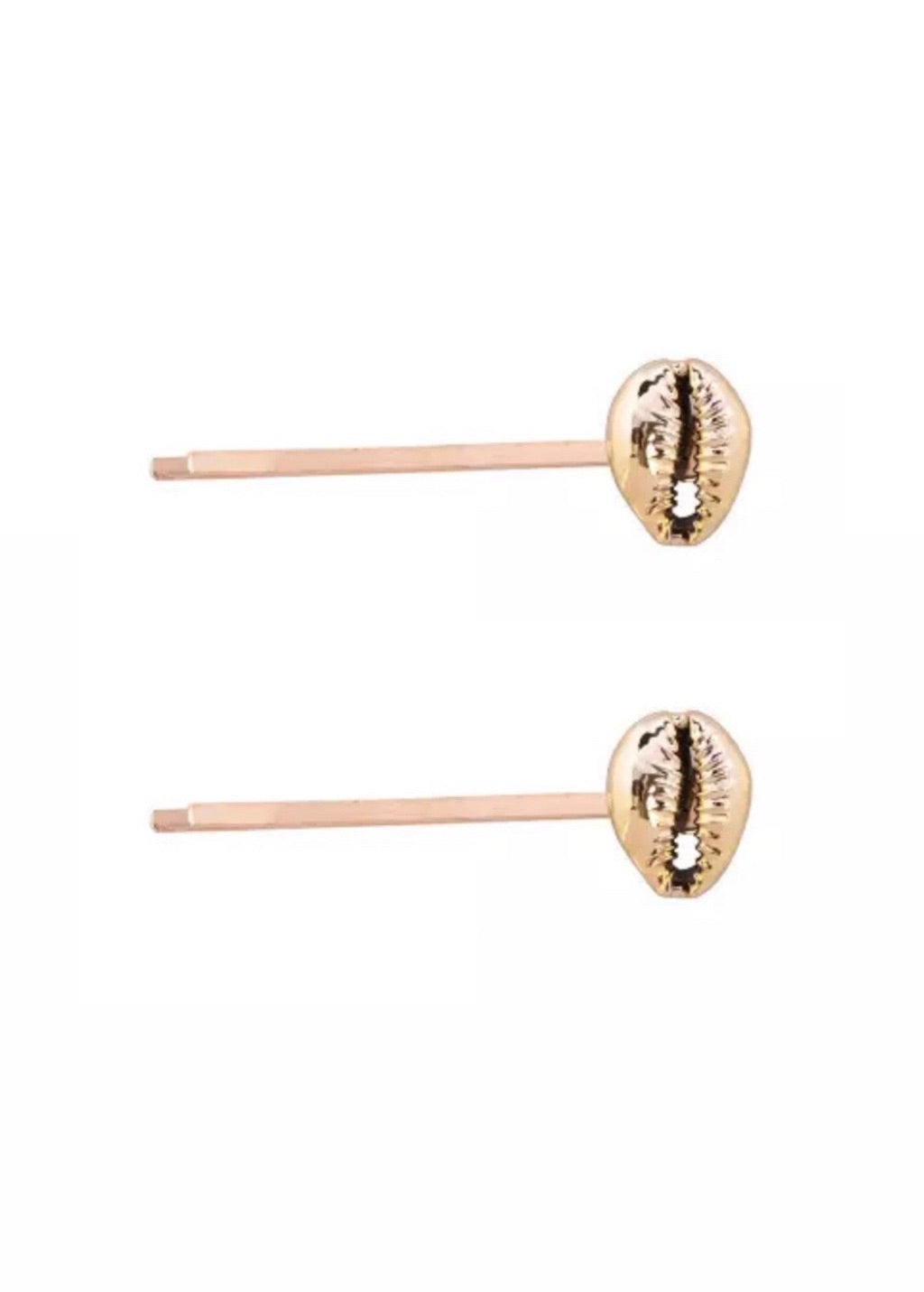 Gold 2PC shell hair slides