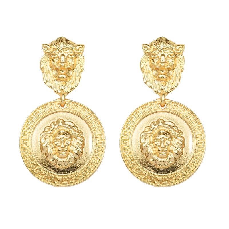 Lion medusa pendant earrings