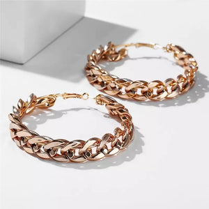 Gold chain statement hoops