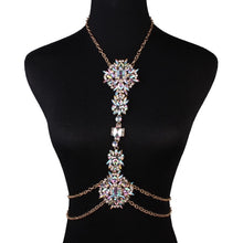 AB multi rhinestone body chain