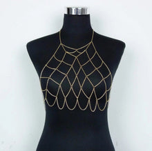 Gold statement net body chain