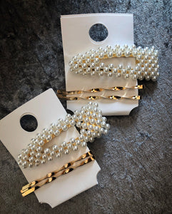 Pearl 3pc gold hair slides