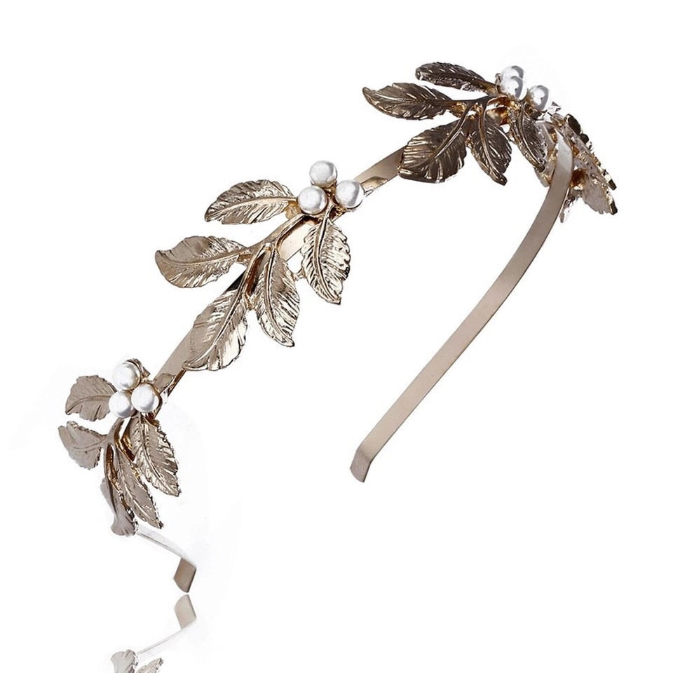 Gold pearl leaf metal headband