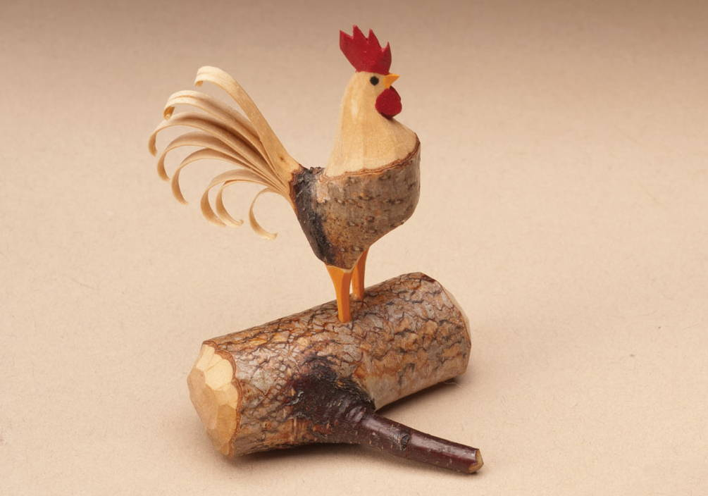 Whittling A Branch Rooster