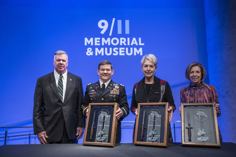 Lt. Gen. John F. Mulholland, Jr. presents September 11 Memorial V-42s to Colonel Lewis Powers, Commander of the U.S. Army's 5th Special Forces Group; Toni Hiley, Director of the CIA Museum; and Alice Greenwald, President and CEO of the National September 11 Memorial & Museum. The commemorative knives were crafted by W.R. Case & Sons Cutlery Co. with donated steel recovered from the World Trade Center.