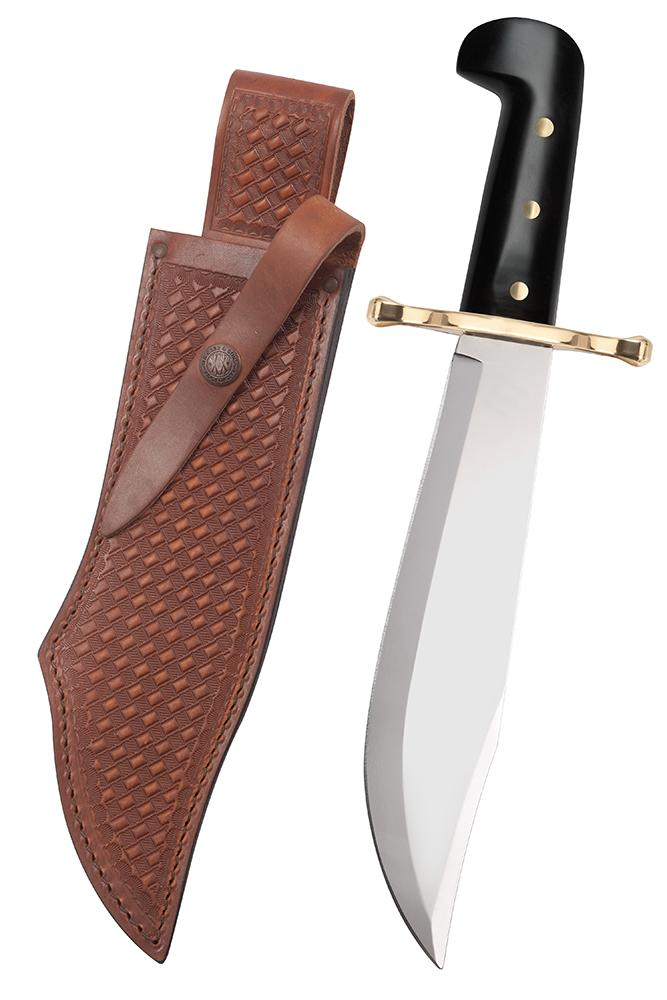 Bowie Black Synthetic Handle with Blade Artwork and Leather Sheath