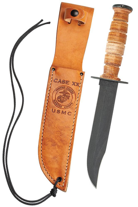 Grooved Leather USMC® Knife with Leather Sheath