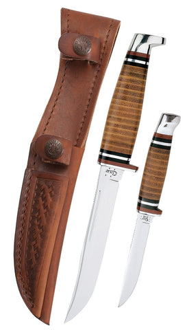 Leather Hunter Two Knife Hunting Set with Leather Sheath
