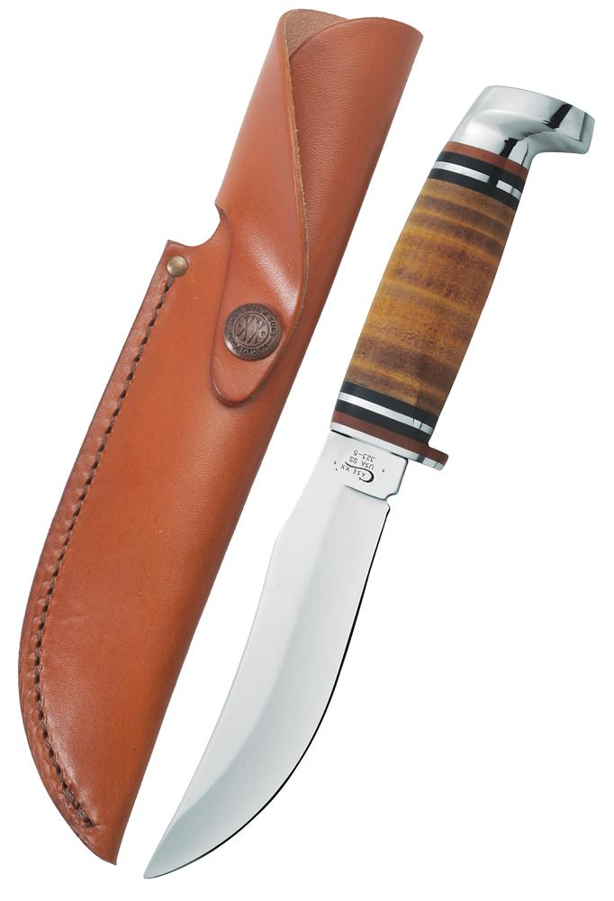 "Leather 5"" Skinner Hunter with Leather Sheath"