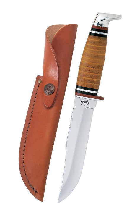 "Leather 5"" Combination Skinner Hunter with Leather Sheath"