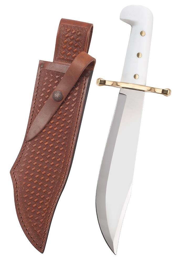 Bowie White Synthetic Handle with Leather Sheath