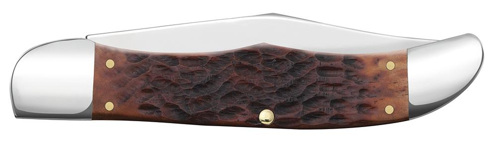 Chestnut Bone Standard Jig Folding Hunter with Leather Sheath