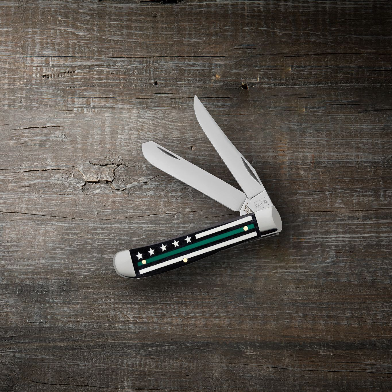 Stripes of Service™ Smooth Black Bone with Green Color Mini Trapper