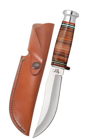 "Mushroom Cap Leather 5"" Skinner Hunter with Leather Sheath"