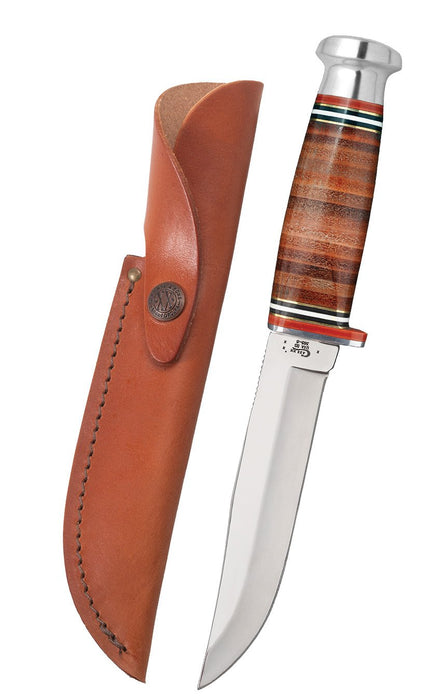 "Mushroom Cap Leather 5"" Combination Skinner Hunter with Leather Sheath"