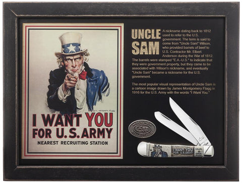 U.S. Army Commemorative Embellished Smooth Natural Bone Trapper