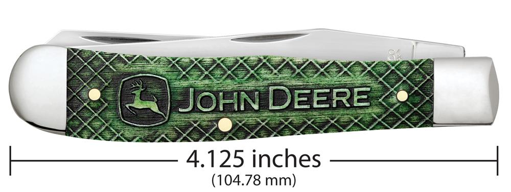 John Deere Gift Set Smooth Natural Bone with Green Color Wash Trapper (in Jewel Box)