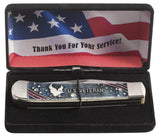 U.S. Veteran Gift Set Embellished Smooth Natural Bone with Blue and Red Color Wash Trapper