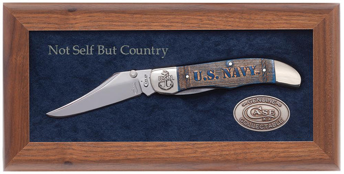 U.S. Navy Commemorative Embellished Smooth Navy Blue Bone Mid-Folding Hunter in Wooden Box