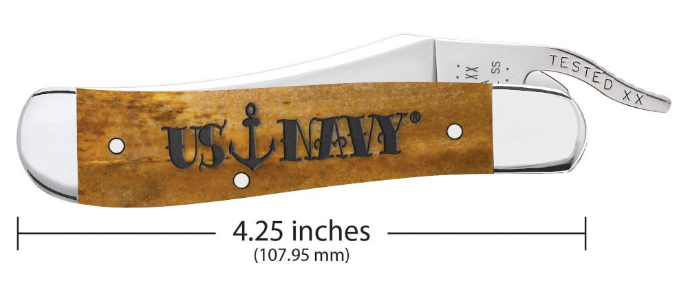 U.S. Navy Embellished Smooth Antique Bone RussLock® closed showing the front of the knife