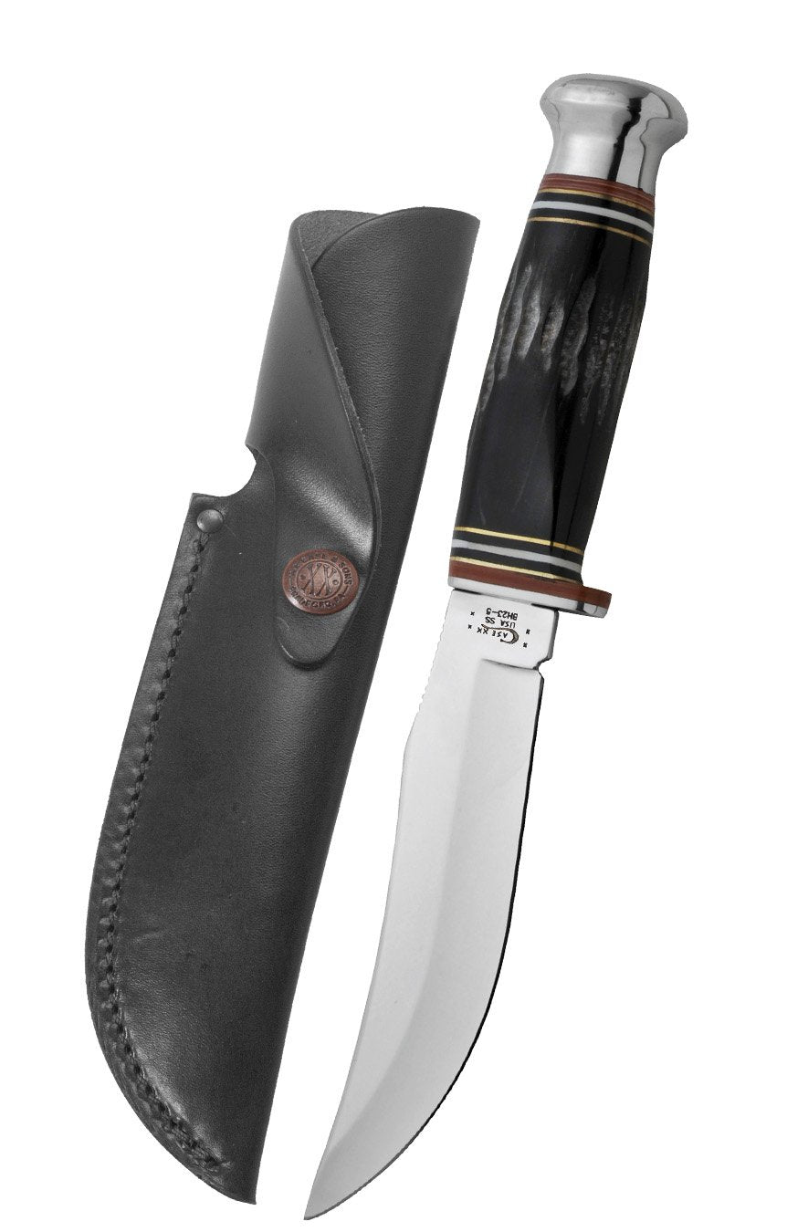 "Buffalo Horn 5"" Skinner Hunter with Leather Sheath"