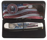 BSA® Gift Set Embellished Smooth Natural Bone with Red and Blue Color Wash Trapper