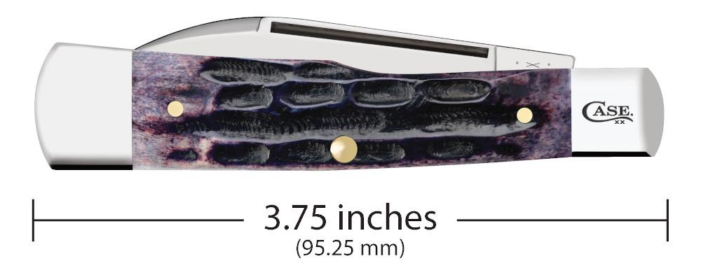 Light Purple Bone Deep Canyon Jig Gunstock closed showing the front of the knife