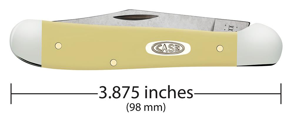 Front view of the Yellow Synthetic Smooth Chrome Vanadium Copperhead closed showing the handle length