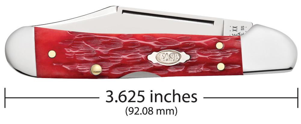 Front view of the Dark Red Bone Peach Seed Jig Chrome Vanadium Mini CopperLock® closed showing the handle length