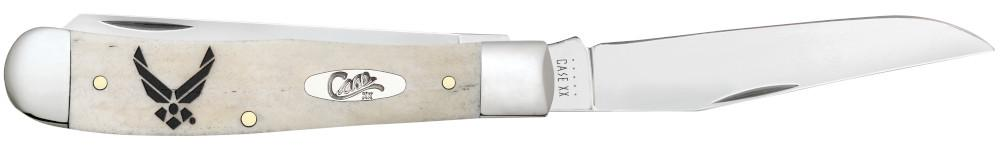 U.S. Air Force™ Embellished Smooth Natural Bone Trapper open in hand showing the front of the knife open showing the clip blade